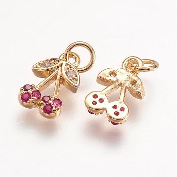 Brass Micro Pave Grade AAA Cubic Zirconia Charms, Cherry, Cadmium Free & Nickel Free & Lead Free, Real 18K Gold Plated, 10x7x2mm, Hole: 2.5mm