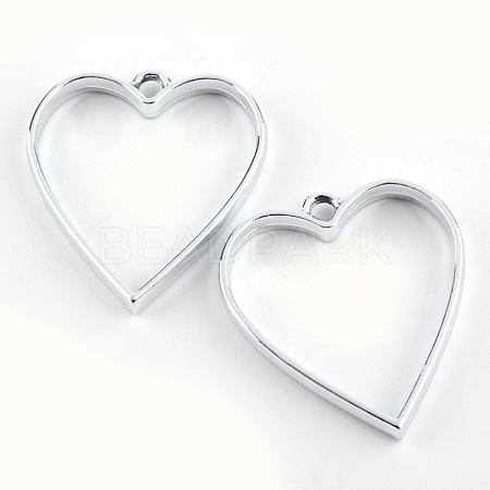 Rack Plating Alloy Heart Open Back Bezel PendantsX-PALLOY-S047-12D-FF-1