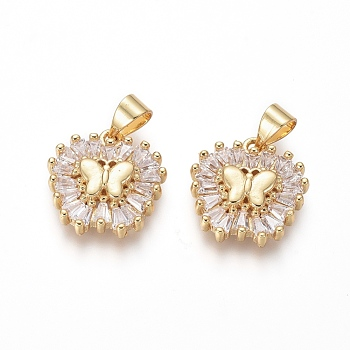 Brass Micro Pave Cubic Zirconia Pendants, Butterfly, Clear, Golden, 15x15x3.5mm, Hole: 3.5x4mm