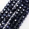 Full Plated Faceted Round Electroplate Glass Strand BeadsX-EGLA-J042-4mm-F01-1