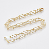 Brass Round Oval Paperclip Chain Necklace MakingMAK-S072-04A-G-2
