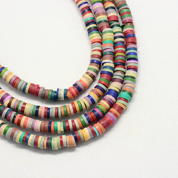 Environmental Handmade Polymer Clay Beads, Disc/Flat Round, Heishi Beads, Mixed Color, 5x1mm, Hole: 2mm; about 380~400pcs/strand, 17.7inches