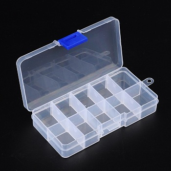 10 Compartment Organiser Storage Plastic Box, Adjustable Dividers Box, for Loom Bands Craft or Nail Art Beads, 7x13x2.3cm