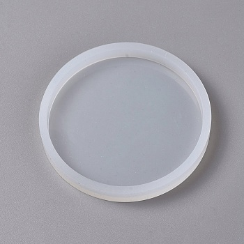 DIY Silicone Molds, Epoxy Resin Casting Molds, For UV Resin, DIY Jewelry Craft Making, Clay Craft Mold Tools, Flat Round, White, 87x10mm