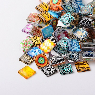 Mosaic Printed Glass Square CabochonsX-GGLA-N001-10mm-G-1