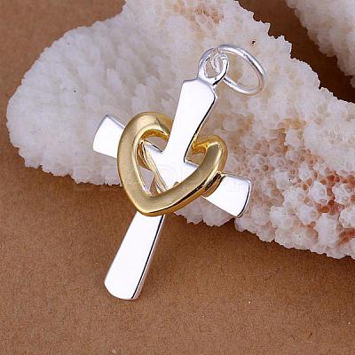 Brass Heart and Cross PendantsKK-BB11621-1