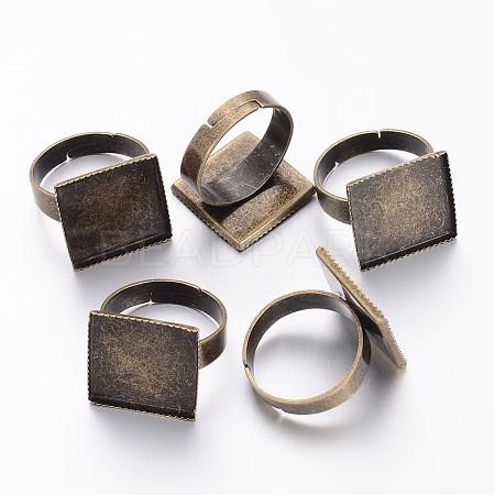 Antique Bronze Adjustable Brass Finger Ring Pad Blanks for Vintage Jewelry MakingX-KK-J052-AB-1