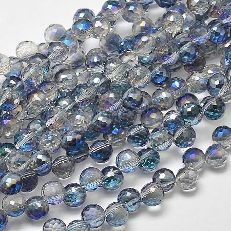 Half Rainbow Plated Electroplate Glass Beads StrandsX-EGLA-J129-HR01-1