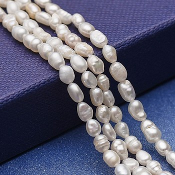 Natural Cultured Freshwater Pearl Beads Strands, Potato, White, 3~6.5x3~4mm, Hole: 0.5mm; about 69~76pcs/strand, 12.79~13.38''(32.5~34cm)