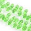 Faceted Drop Transparent Glass Bead StrandsGLAA-R158-10x20-01-1