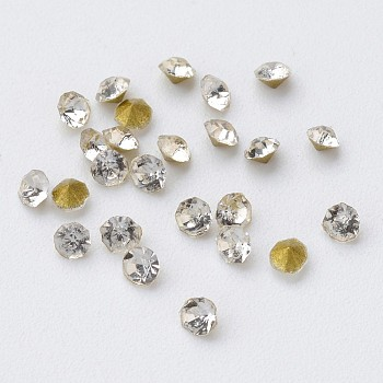 Glass Rhinestone Cabochons, Diamond Shape, Faceted, Pointed Back & Back Plated, Crystal, 2x1.3mm; about 9433pcs/bag