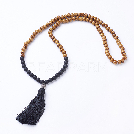 Natural Black Agate and Wood Beaded Buddhist Necklaces X-NJEW-JN01779-01-1