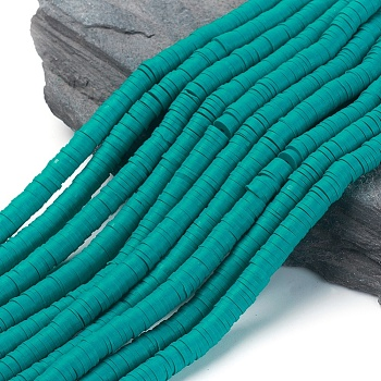 Handmade Polymer Clay Beads, Disc/Flat Round, Heishi Beads, DarkCyan, 6x1mm, Hole: 2mm; about 380~400pcs/strand, 17.7