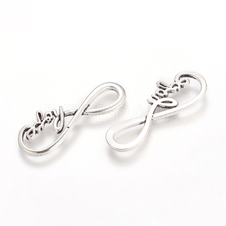 Tibetan Style Alloy Infinity with Hope Links X-TIBE-S230-AS-LF-1
