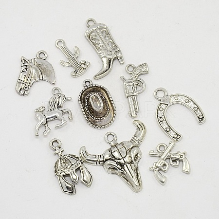 Western Charms Antique Silver Alloy PendantsTIBEP-X0045-AS-1
