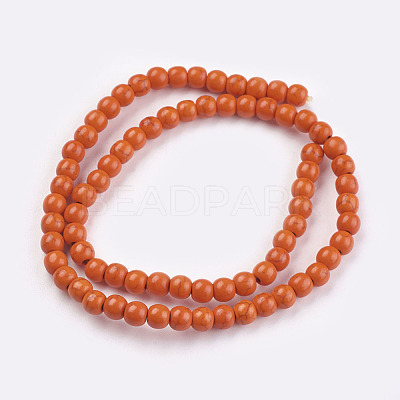 1 Strand Dyed OrangeRed Round Synthetic Turquoise Beads StrandsX-TURQ-G106-6mm-02G-1