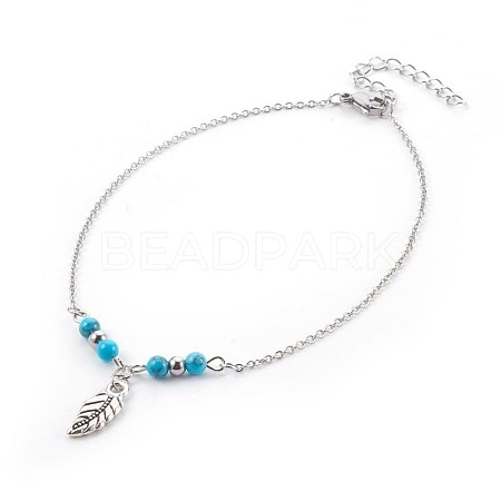 Synthetic Turquoise Charms AnkletsAJEW-AN00234-05-1