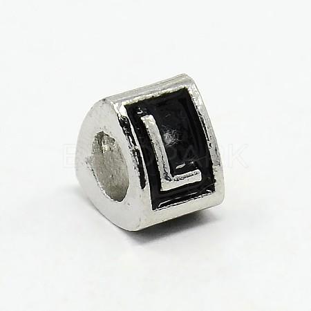 platinum Tone Zine Alloy Enamel European BeadsMPDL-L001-01L-1