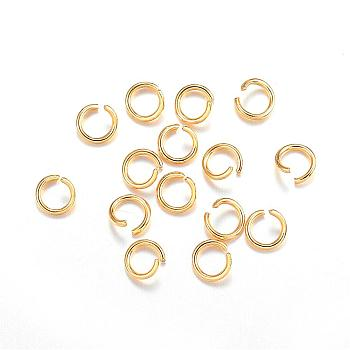 304 Stainless Steel Jump Rings, Open Jump Rings, Golden, 5x0.8mm