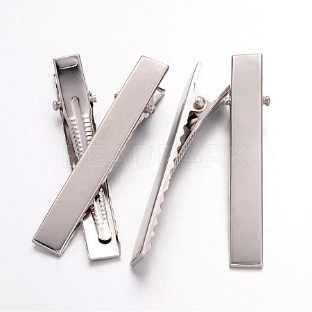 Platinum Plated Iron Flat Alligator Hair Clip Findings for DIY Hair Accessories MakingX-IFIN-S286-57mm-1