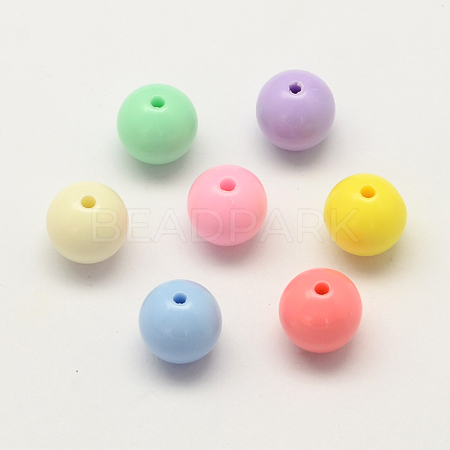 Opaque Acrylic Round BeadsX-SACR-Q100-6mm-M091-1
