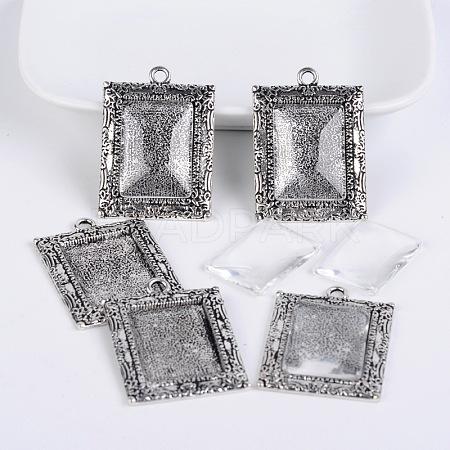 Bubble Locket Tibetan Style Pendant Cabochon Bezel Settings and Clear Glass CabochonsTIBEP-X0182-01AS-LF-1