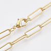 Brass Round Oval Paperclip Chain Necklace MakingMAK-S072-05A-G-1