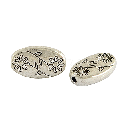 Oval with Flower Tibetan Style Alloy BeadsX-TIBEB-1199-AS-LF-1