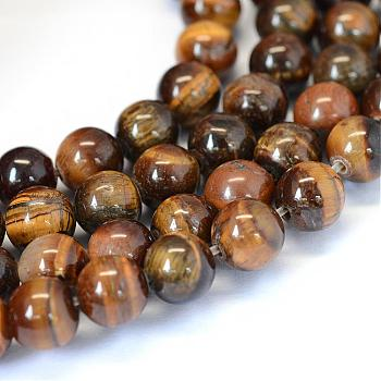 Grade AB Natural Tiger Eye Round Beads Strands, 8~8.5mm, Hole: 1mm; about 47pcs/strand, 15.5