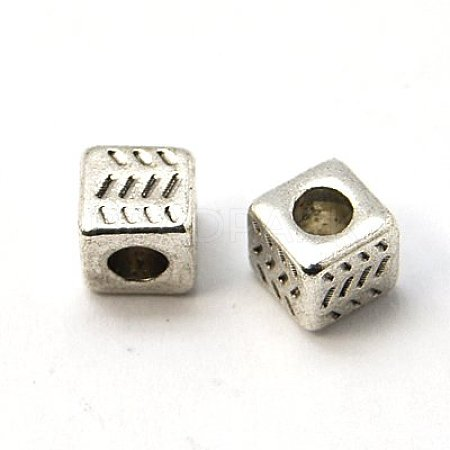 Antique Silver Tibetan Silver Cube Spacer BeadsX-LFH10004Y-1