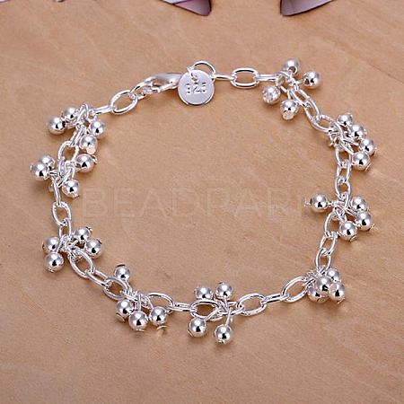 Brass Grape Charm Bracelets For Women BJEW-BB12487-1