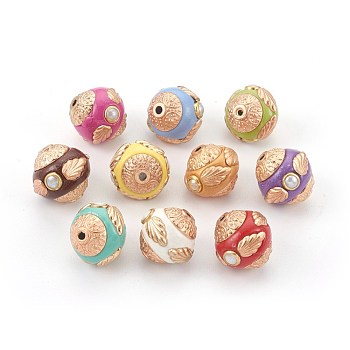 Handmade Indonesia Beads, with Metal Findings, Round, Light Gold, Mixed Color, 15~16x13.5~15mm, Hole: 1.6mm