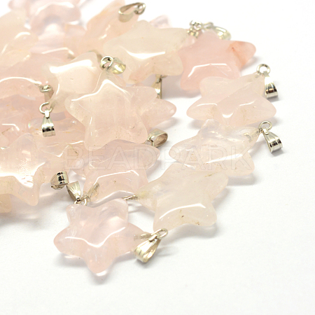 Star Natural Rose Quartz Pendants X-G-Q367-12-1