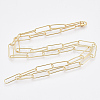 Brass Round Oval Paperclip Chain Necklace MakingMAK-S072-06B-G-2