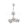 Platinum Plated Piercing Jewelry Brass Cubic Zirconia Navel Ring Belly RingsAJEW-EE0001-07-1